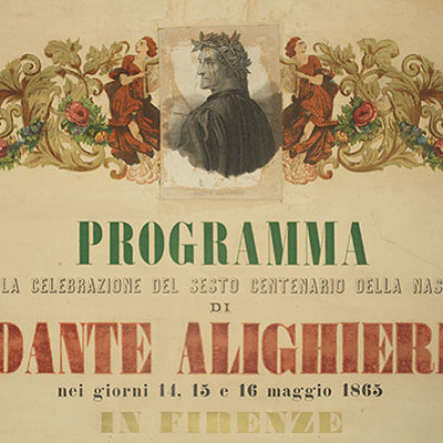Detail of the top of a poster from Florence's 1865 commemoration of Dante.